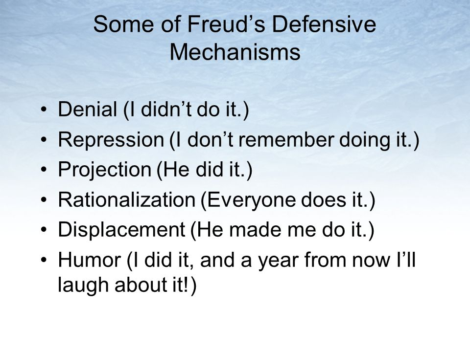 Some of Freud's Defensive Mechanisms