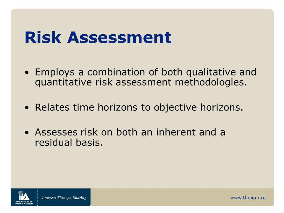 Risk Assessment Employs a combination of both qualitative and quantitative risk assessment methodologies.