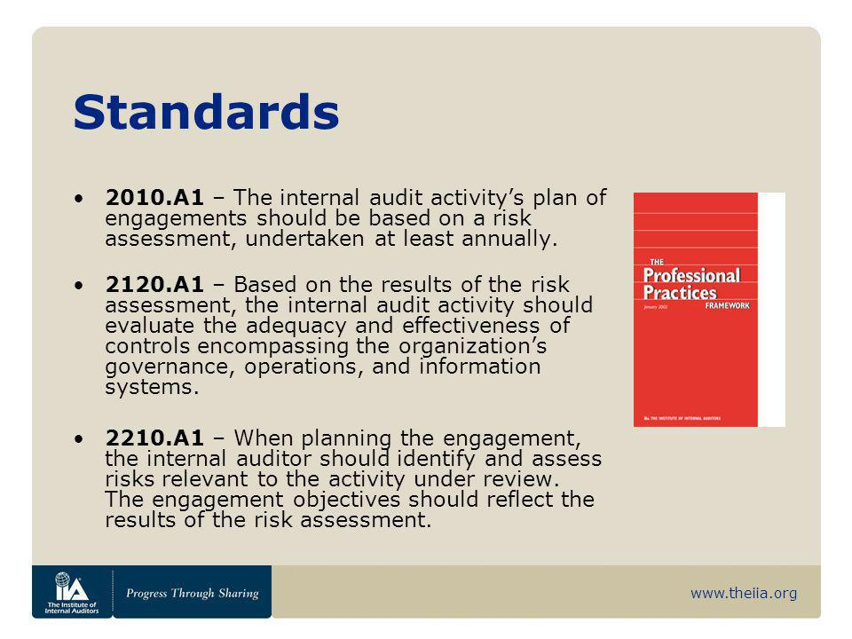 Standards 2010.A1 – The internal audit activity's plan of engagements should be based on a risk assessment, undertaken at least annually.