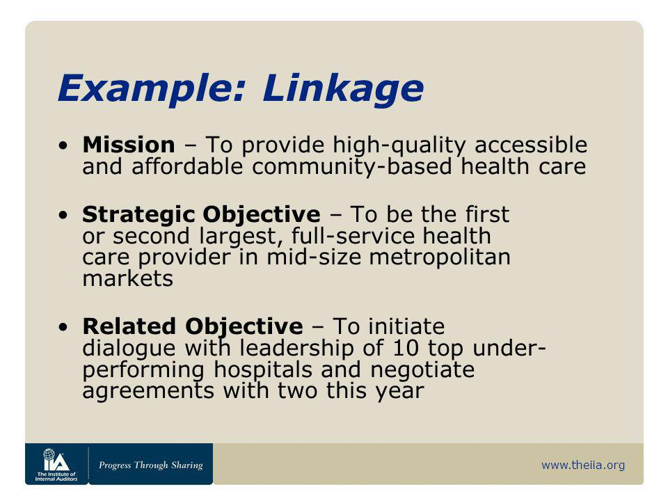 Example: Linkage Mission – To provide high-quality accessible and affordable community-based health care.