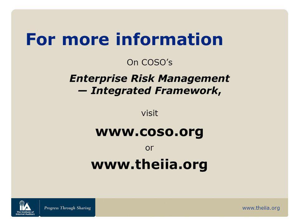 Enterprise Risk Management — Integrated Framework,