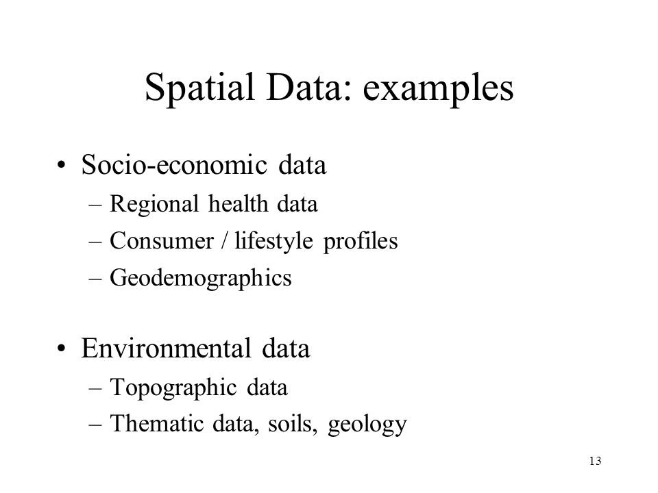 Spatial Data: examples