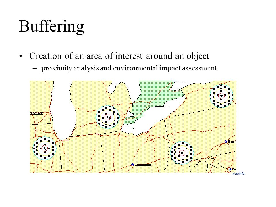 Buffering Creation of an area of interest around an object
