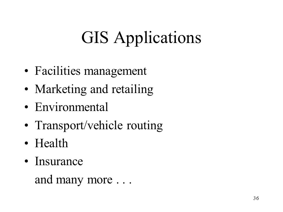 GIS Applications Facilities management Marketing and retailing