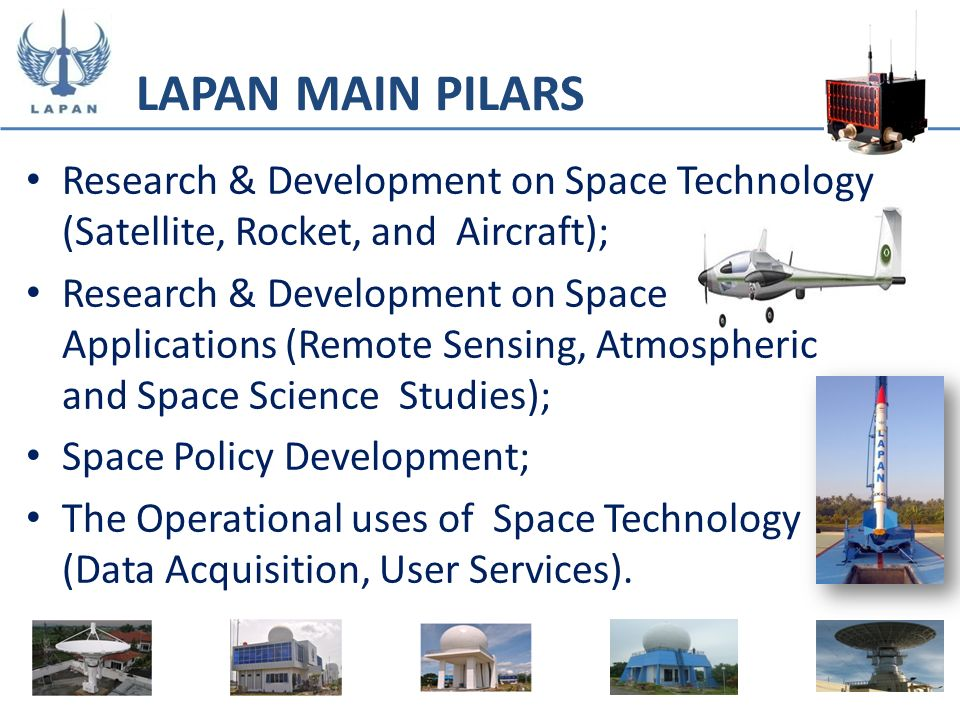 LAPAN MAIN PILARSResearch & Development on Space Technology (Satellite, Rocket, and Aircraft);