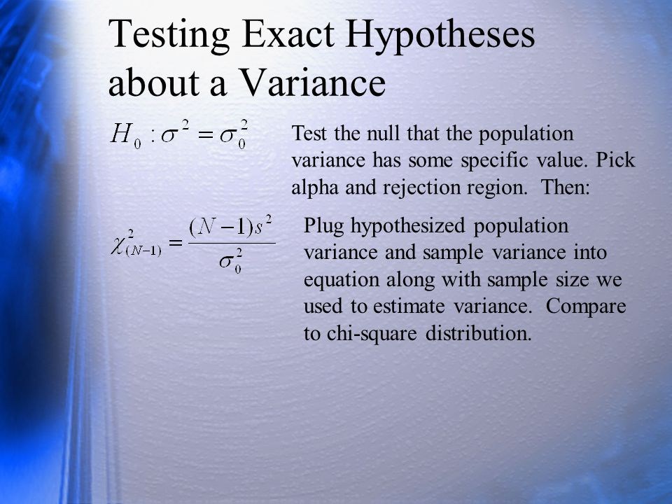 Testing Exact Hypotheses about a Variance