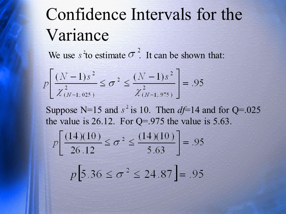 Confidence Intervals for the Variance