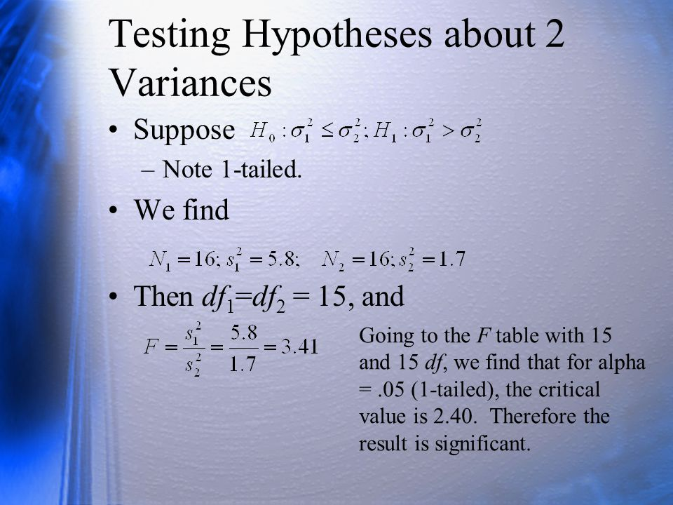 Testing Hypotheses about 2 Variances