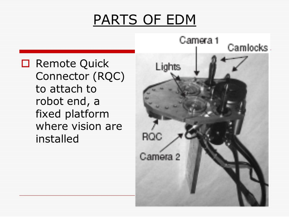 PARTS OF EDM Remote Quick Connector (RQC) to attach to robot end, a fixed platform where vision are installed.