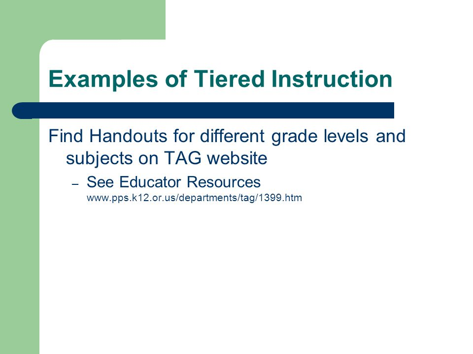 Examples of Tiered Instruction