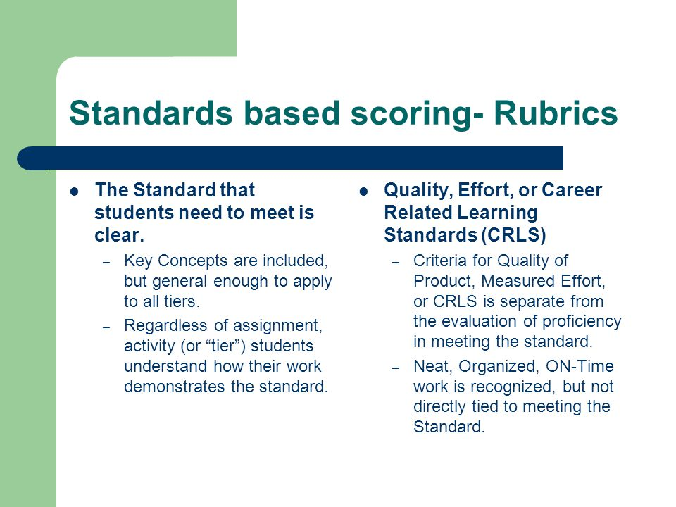 Standards based scoring- Rubrics