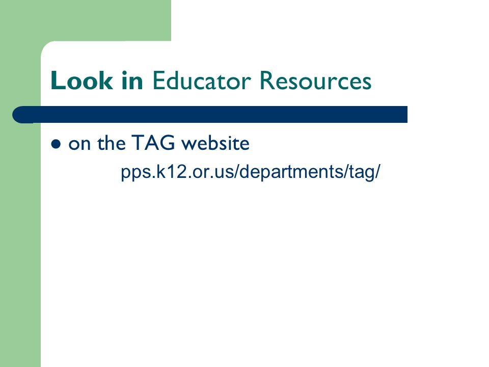 Look in Educator Resources