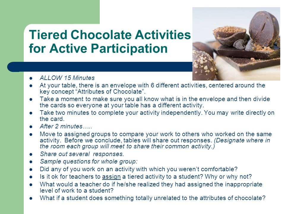 Tiered Chocolate Activities for Active Participation