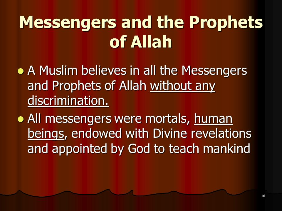 Messengers and the Prophets of Allah