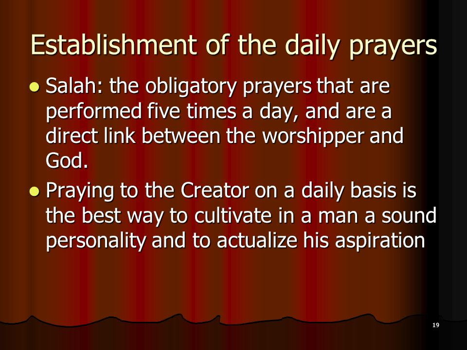 Establishment of the daily prayers
