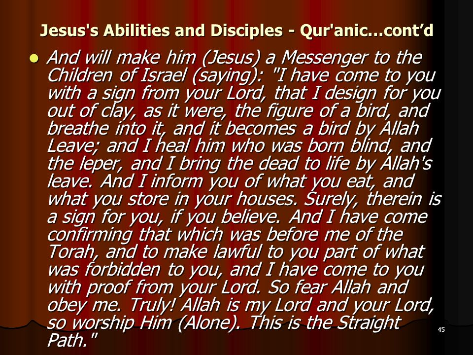 Jesus s Abilities and Disciples - Qur anic…cont'd