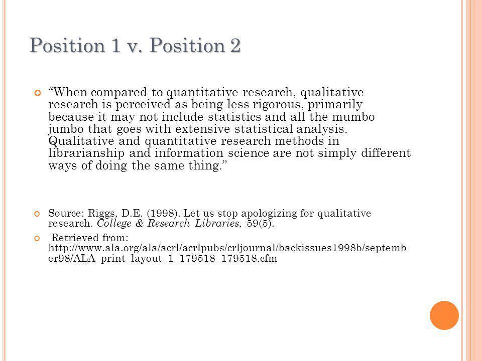 Position 1 v. Position 2