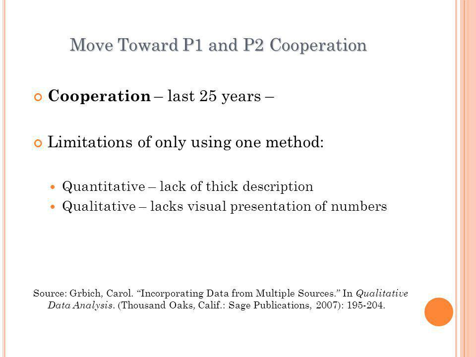 Move Toward P1 and P2 Cooperation