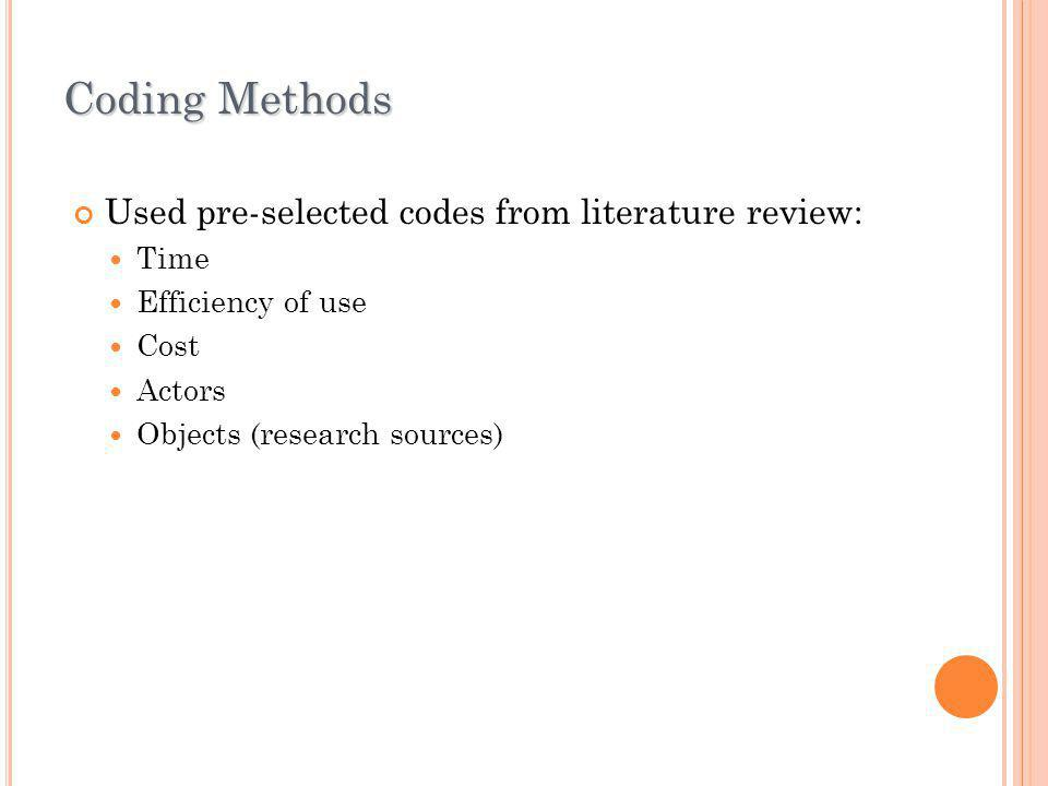 Coding Methods Used pre-selected codes from literature review: Time