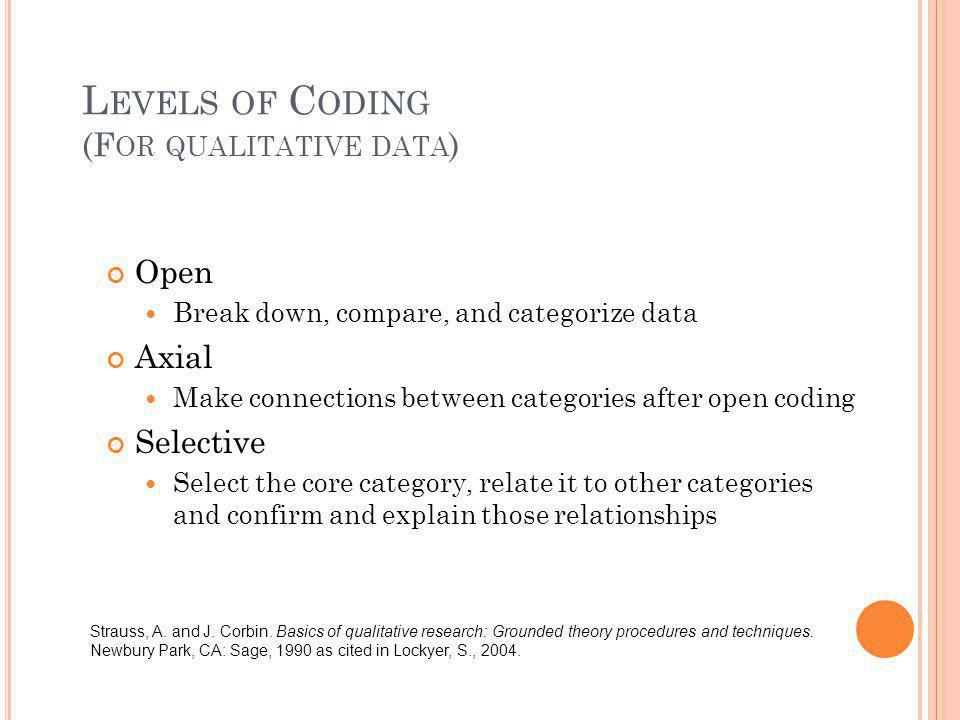 Levels of Coding (For qualitative data)