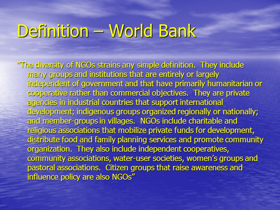 Definition – World Bank