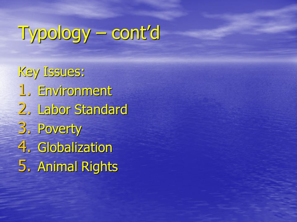 Typology – cont'd Key Issues: Environment Labor Standard Poverty