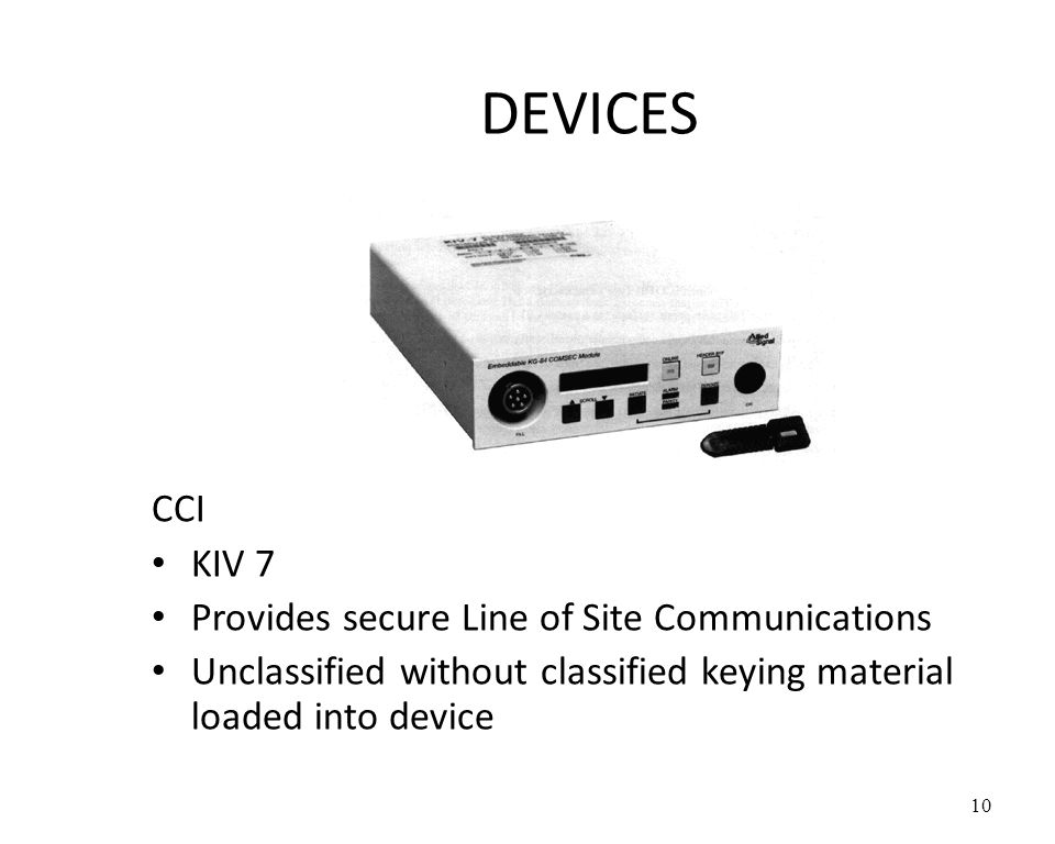 DEVICES CCI KIV 7 Provides secure Line of Site Communications