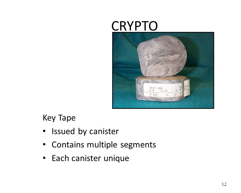 CRYPTO Key Tape Issued by canister Contains multiple segments