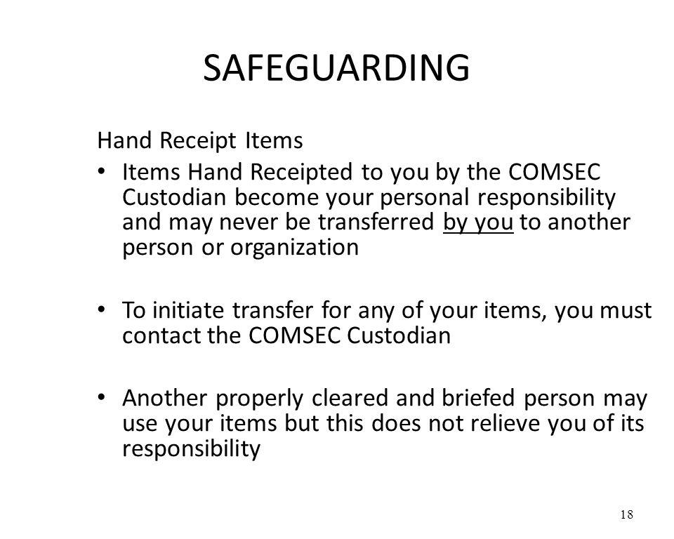 SAFEGUARDING Hand Receipt Items