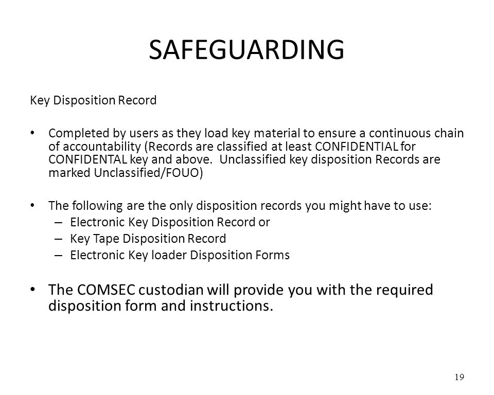 SAFEGUARDING Key Disposition Record.