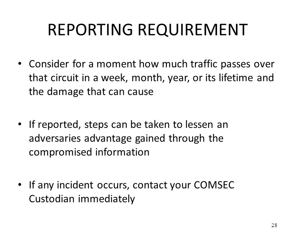 REPORTING REQUIREMENT