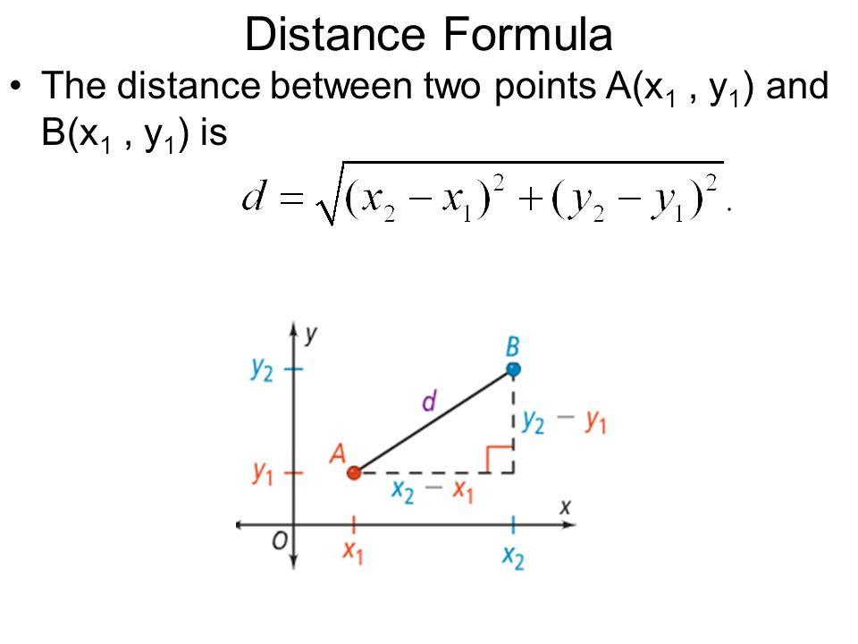 Distance Formula The distance between two points A(x1 , y1) and B(x1 , y1) is