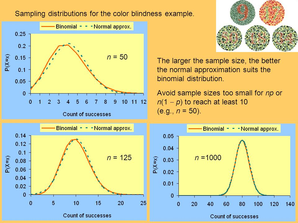 Sampling distributions for the color blindness example.