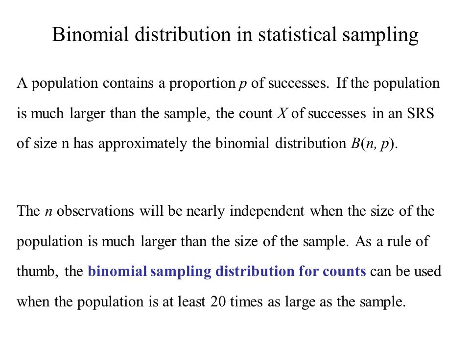 Binomial distribution in statistical sampling