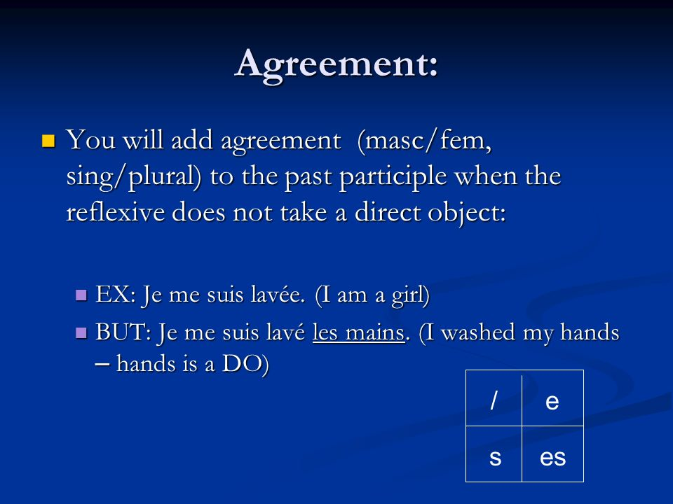 Agreement: You will add agreement (masc/fem, sing/plural) to the past participle when the reflexive does not take a direct object:
