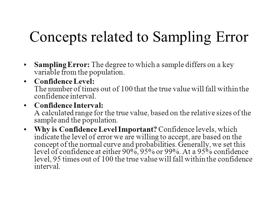 Concepts related to Sampling Error