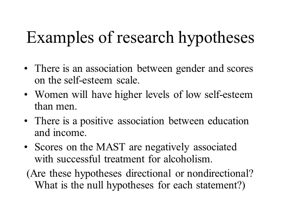 Examples of research hypotheses