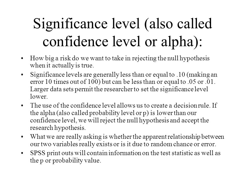 Significance level (also called confidence level or alpha):