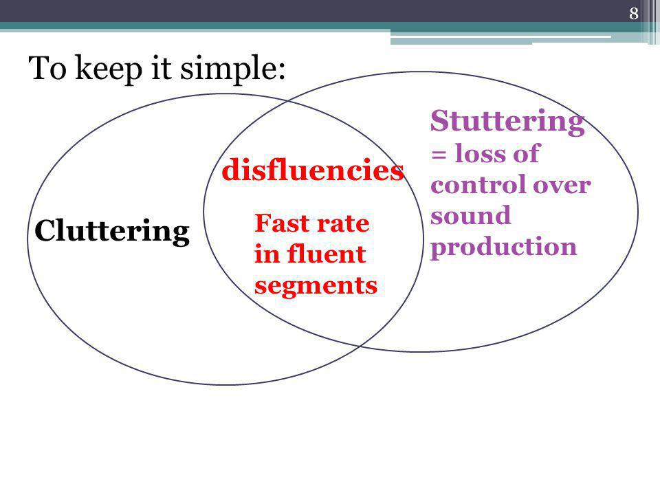 To keep it simple: Stuttering = loss of control over sound production