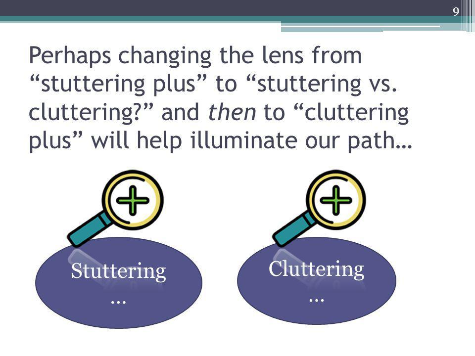 Perhaps changing the lens from stuttering plus to stuttering vs