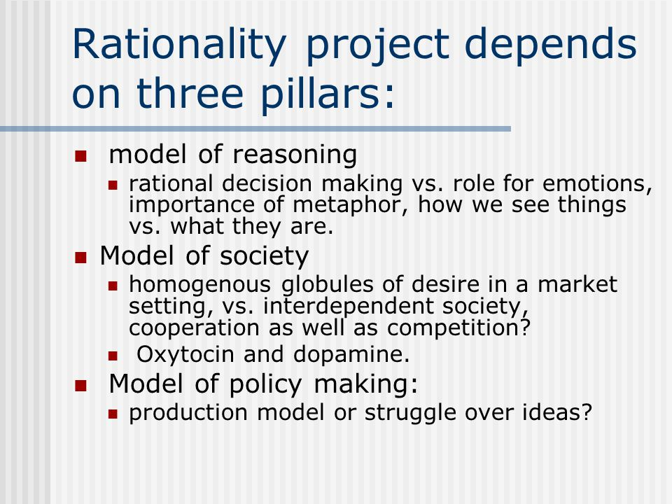 Rationality project depends on three pillars: