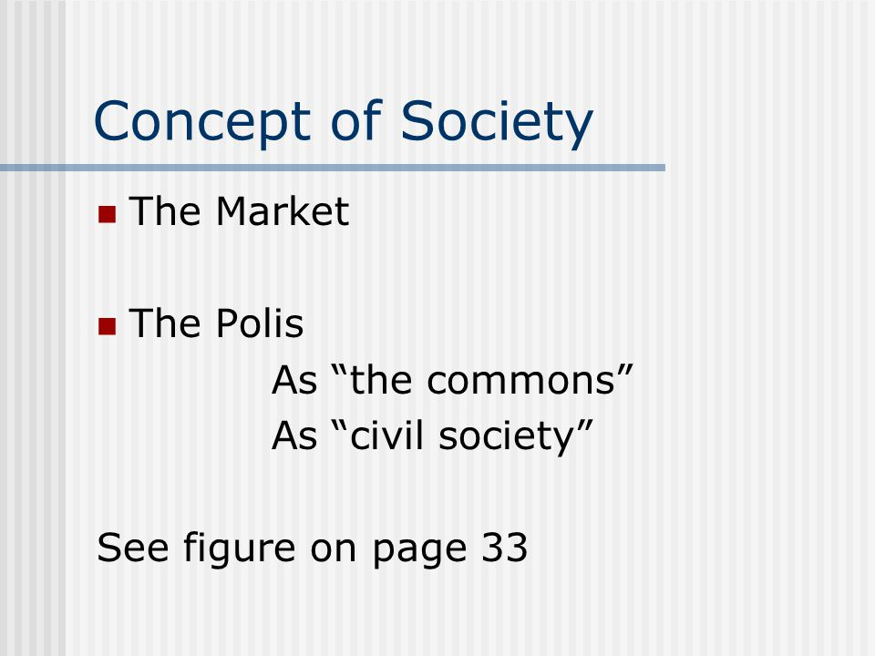 Concept of Society The Market The Polis As the commons
