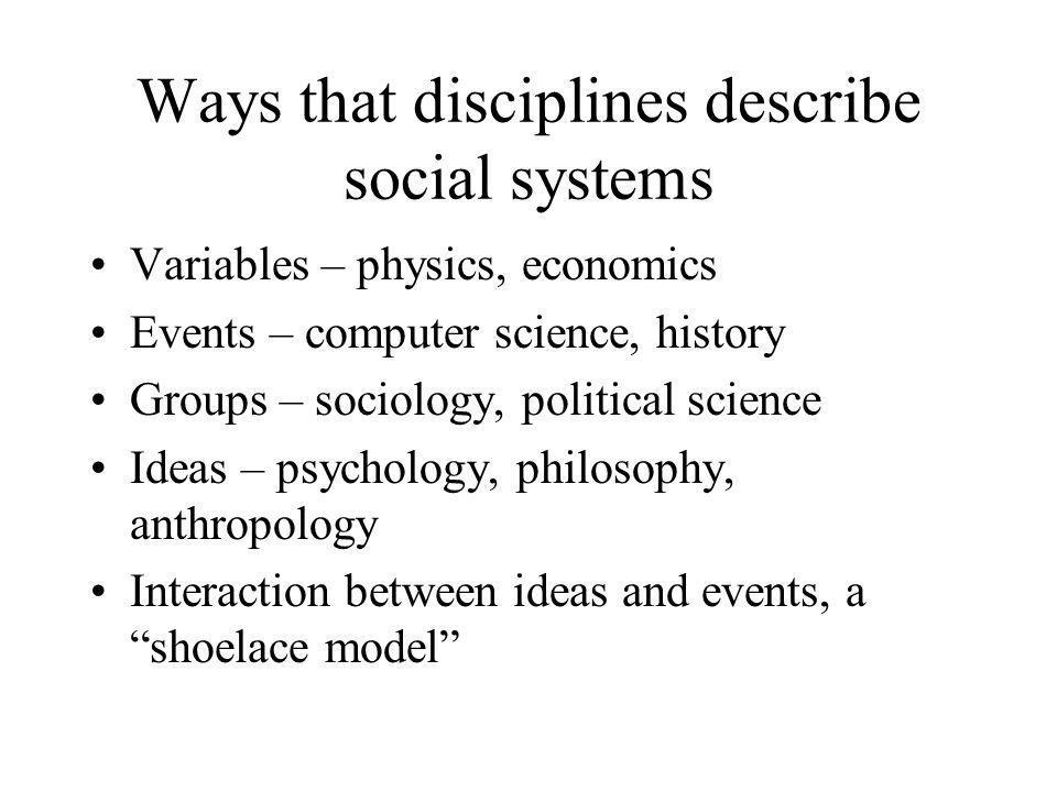 Ways that disciplines describe social systems