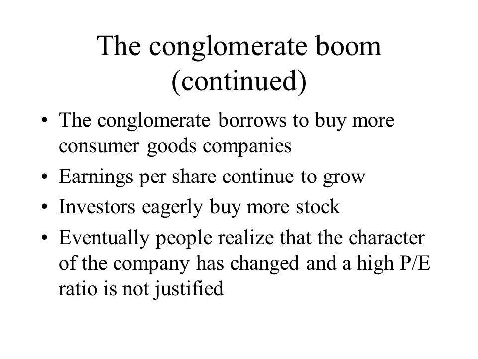 The conglomerate boom (continued)
