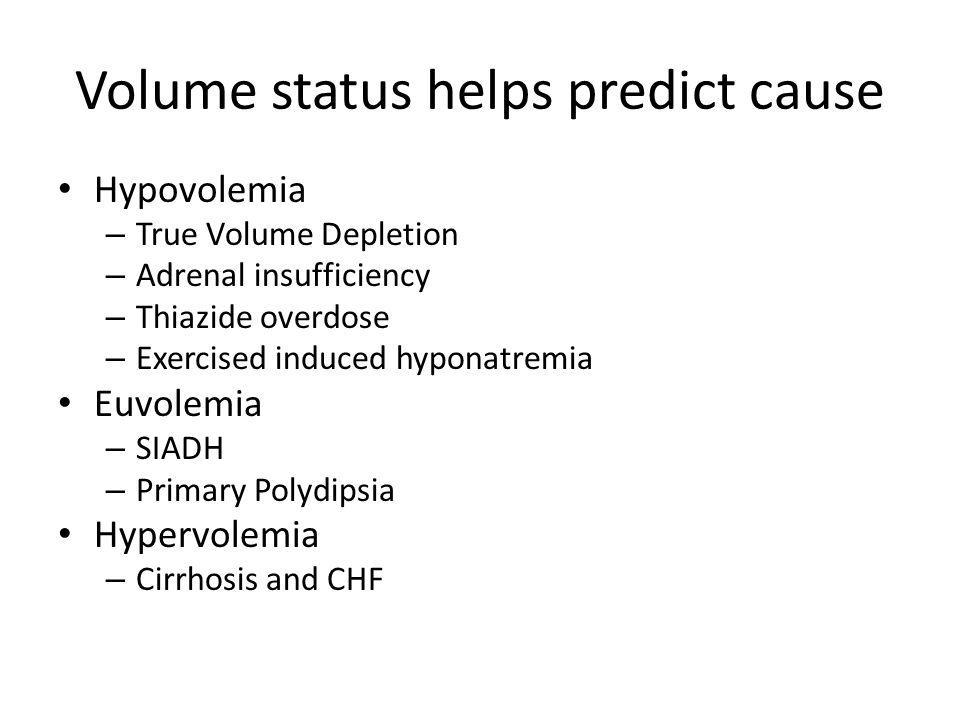 Volume status helps predict cause