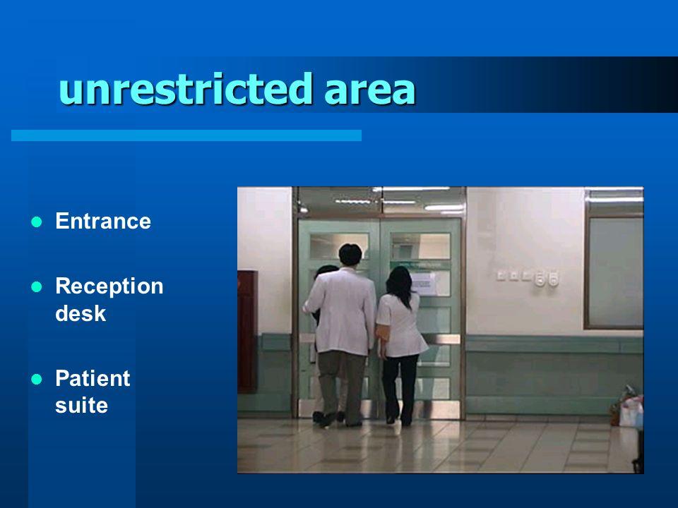 unrestricted area Entrance Reception desk Patient suite