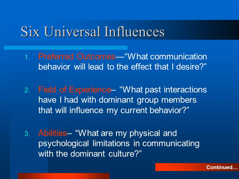 Six Universal Influences