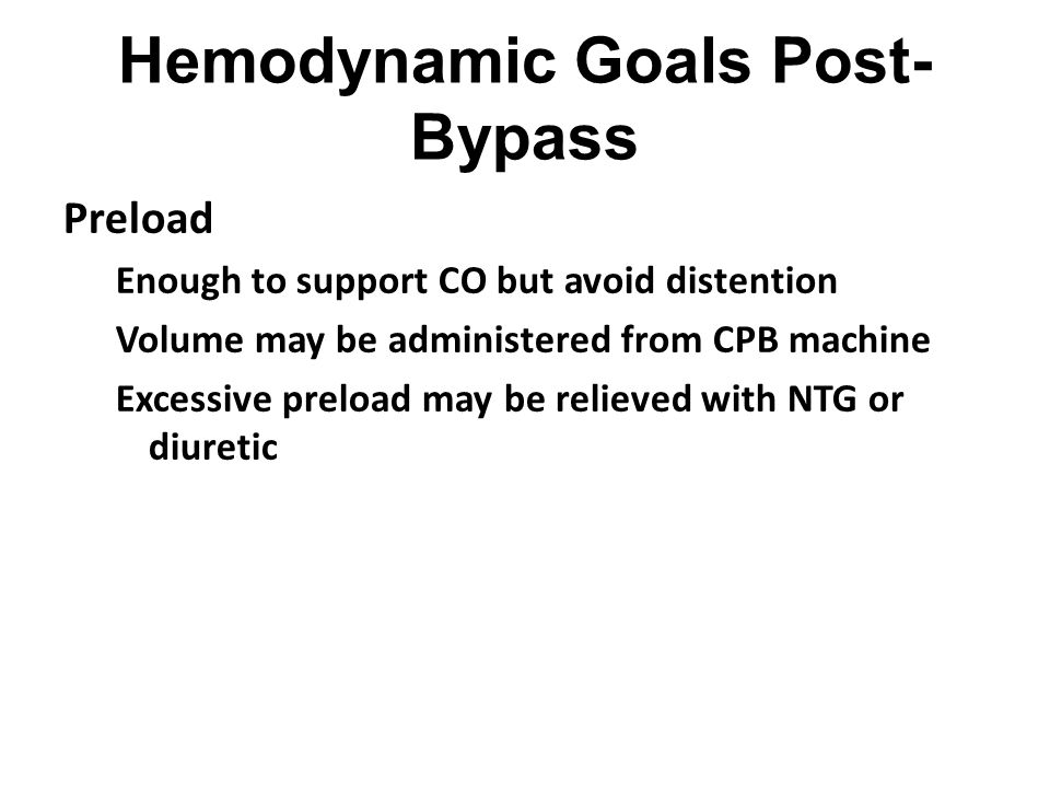 Hemodynamic Goals Post-Bypass