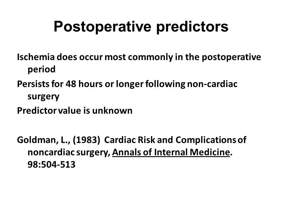Postoperative predictors