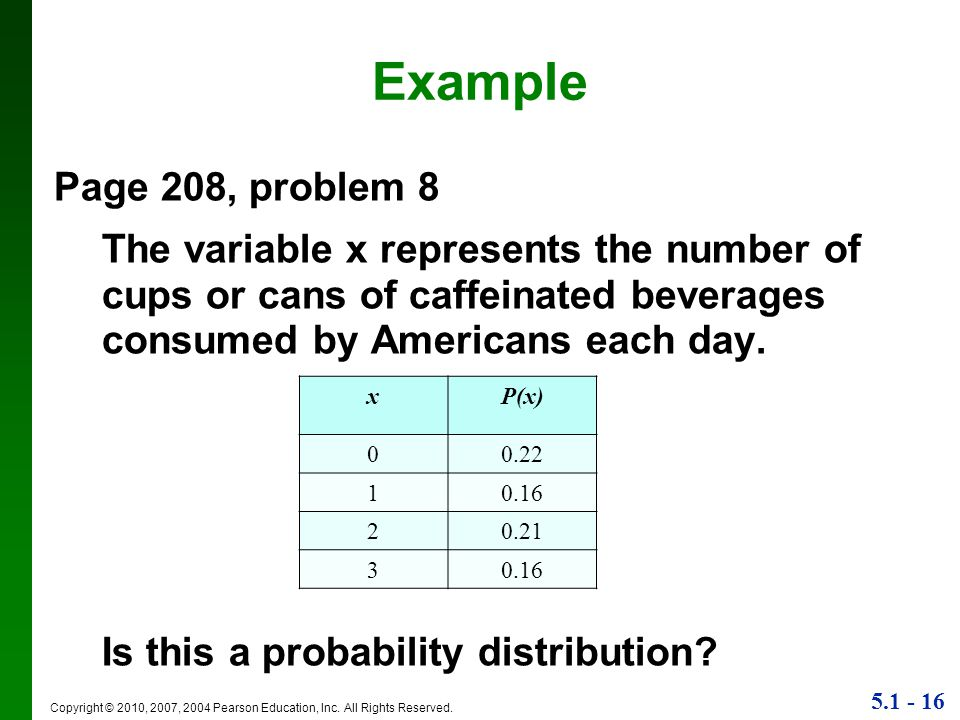 Example Page 208, problem 8. The variable x represents the number of cups or cans of caffeinated beverages consumed by Americans each day.